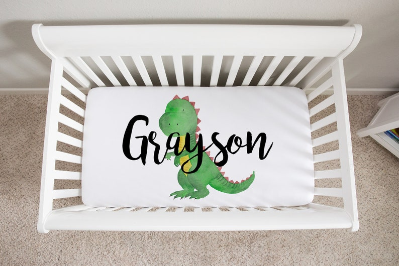 Personalized Crib Sheet Dinosaur Baby Bedding Fitted Crib image 0