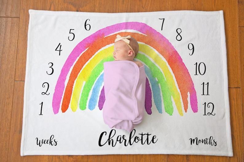Rainbow Baby Milestone Blanket  Rainbow Baby Gift  Monthly image 0