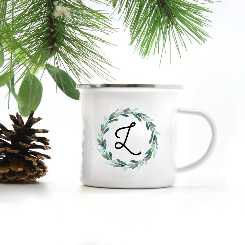 Personalized Wreath Mug  Initial Mug  Personalized Coffee image 0
