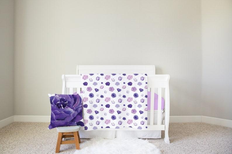 Purple Floral Baby Blanket  Violet Flower Blanket  Baby Girl image 0