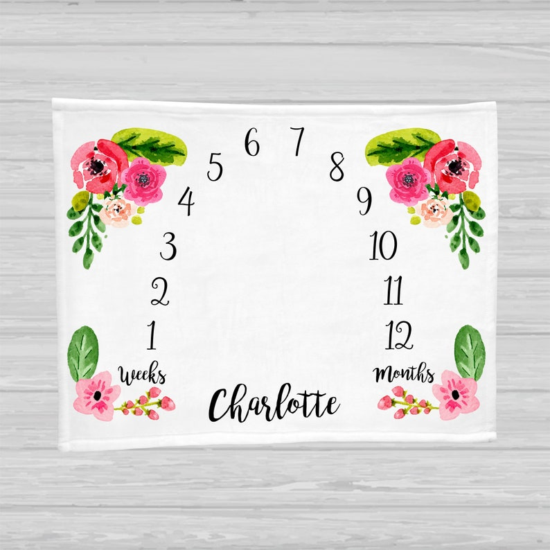 Baby Milestone Blanket  Baby Girl Gift  Floral Monthly Baby 30x40 Minky w/ Name