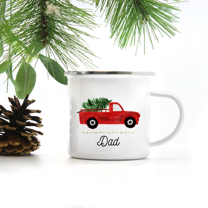 Personalized Christmas Mug  Red Truck Mug  Gift for Dad  image 0
