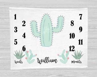 Cactus Monthly Baby Blanket - Baby Boy Gift - Watch Me Grow Blanket - Baby Boy Milestone Blanket - Age Blanket - Children's Photo Props