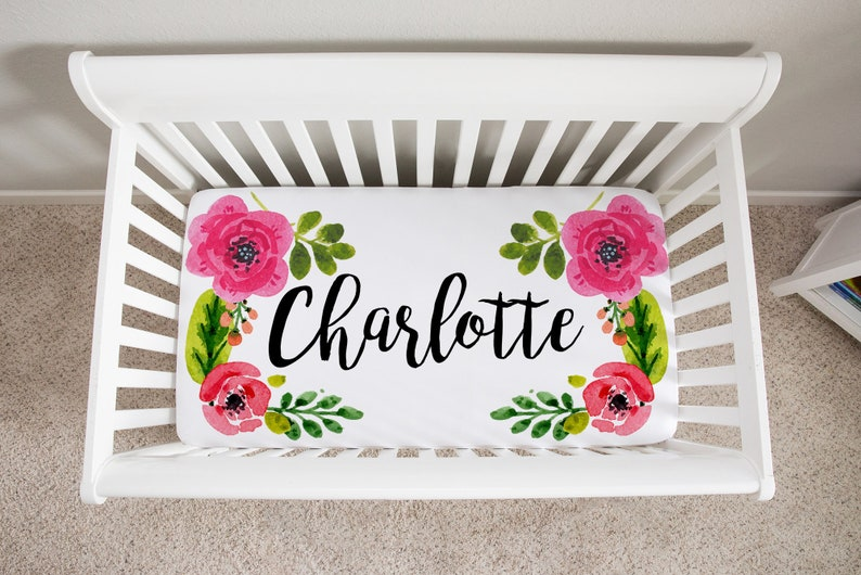Personalized Crib Sheet Floral Baby Bedding Baby Girl Fitted image 0