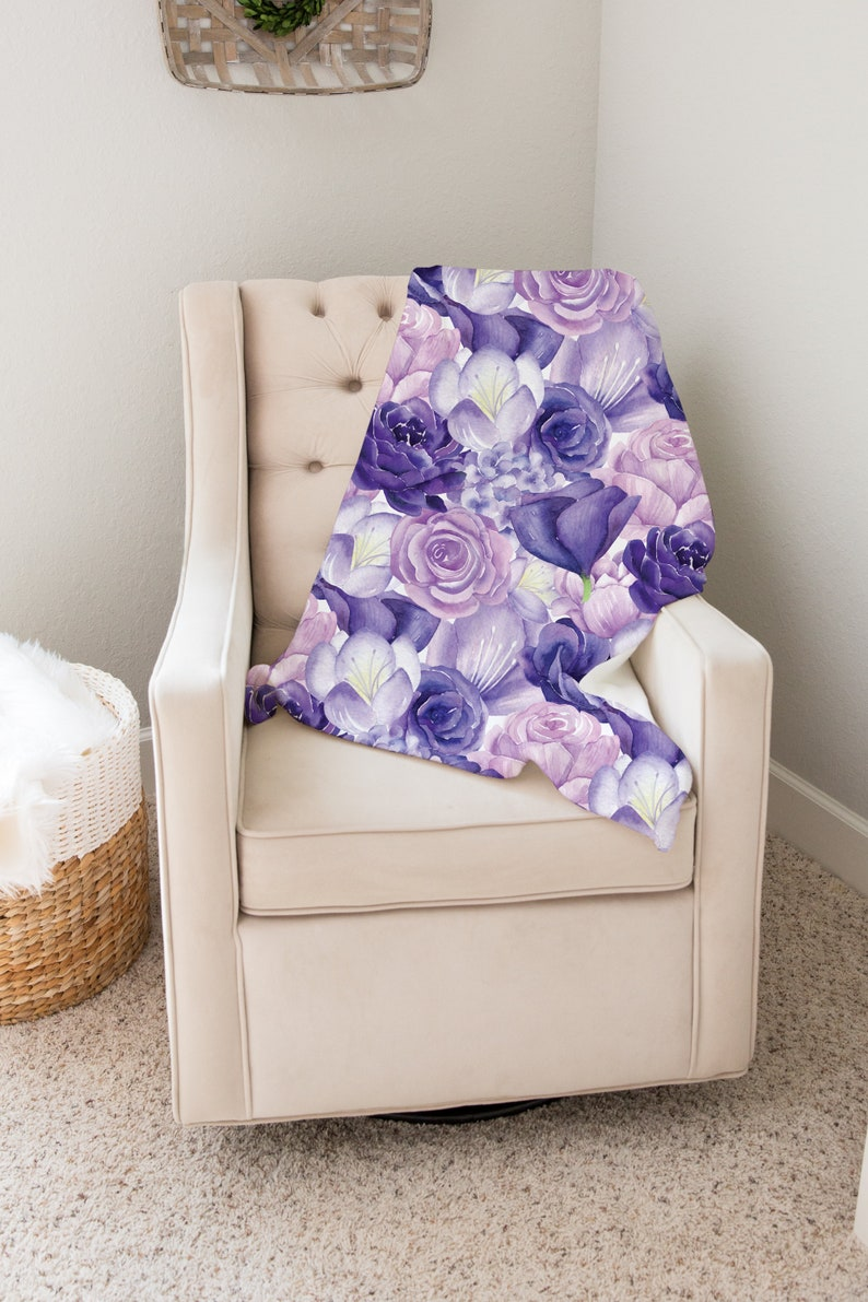 Baby Girl Floral Watercolor Baby Blanket Swaddle Blanket image 0
