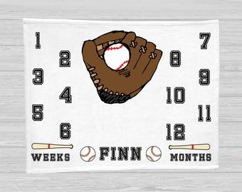Baseball Baby Milestone Blanket - Baby Boy Gift - Monthly Baby Blanket - Baseball Age Blanket - Name Baby Blanket - Watch Me Grow Blanket