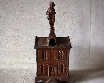 French cast iron painted money box
