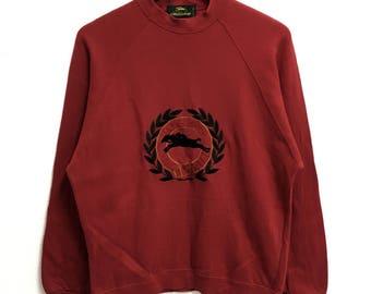 RARE!!!! Longchamp Paris Fashion Big Logo Embroidery Red Colour Crew Neck  Sweatshirts Jumper Pullover Medium Size 2e104cef47