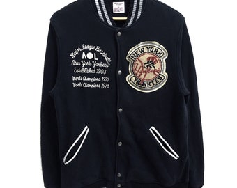 fa9771933 RARE!!! New York Yankees Major League Baseball Big Logo Embroidery Button  Down Varsity Sweaters Jackets L Fit M Size