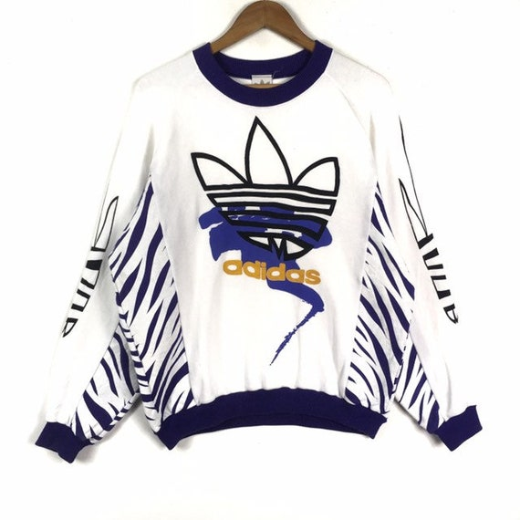 RARE!!! Vintage Adidas Trefoil Big Logo Spell Out White Colour Crew Neck Sweatshirts Jumper Pullover Large Size