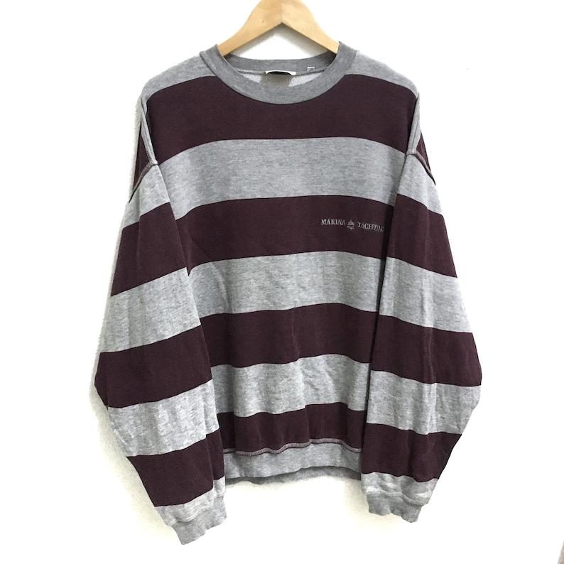 e032cc47bcb59 RARE!!! Marina Yachting Small Logo Embroidery Stripes Colour Crew Neck  Sweatshirts Jumper Pullover XL Size