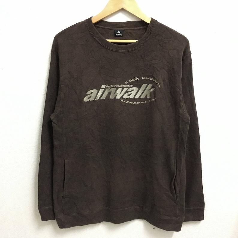 96ce4f0e08160 RARE!!! Airwalk Big Logo Embroidery Brown Colour Crew Neck Sweatshirts  Jumper Pullover Medium Size