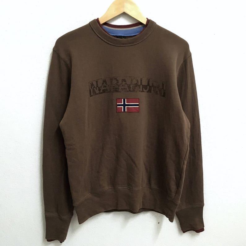 5c9f5a8d36747 RARE!!! NAPAPIJRI Outdoor Big Logo Brown Colour Crew Neck Sweatshirts  Jumper Pullover Medium Size