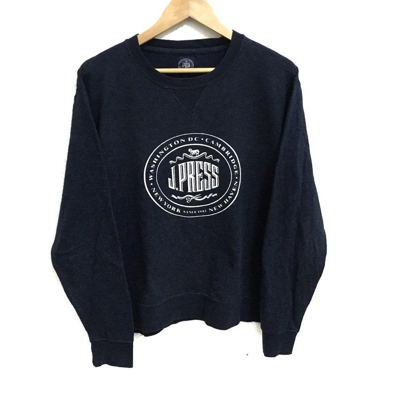 9953a009e32ae RARE!!! J PRESS Big Logo Printed Dark Blue Colour Crew Neck Sweatshirts  Jumper Pullover Large Size