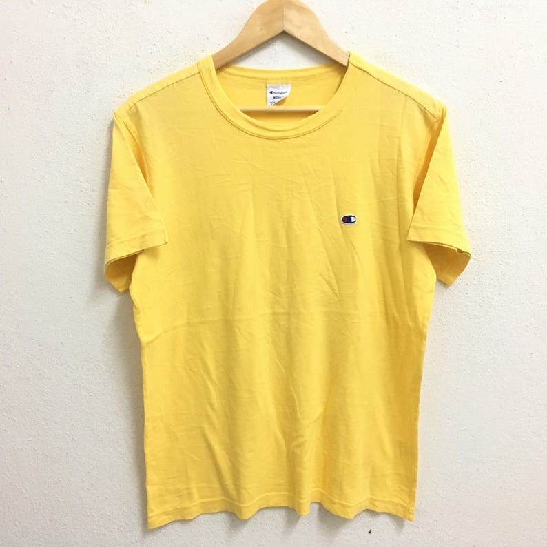 6caff3fbb5962 RARE!!! Champion Small Logo Embroidery Yellow Colour Crew Neck T-Shirts  Large Size
