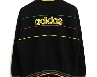 RARE!!! Adidas Equipment Big Logo SpellOut Black Colour Button Down Sweaters Jumper Pullover Large Size
