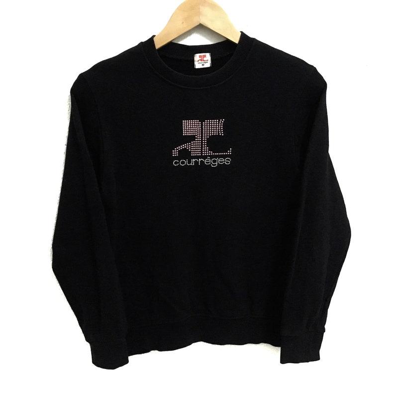 bccfb2b2bf5e4 RARE!!! Courreges Big Logo Black Colour Crew Neck Sweatshirts Jumper  Pullover 2L (Ladies) Size