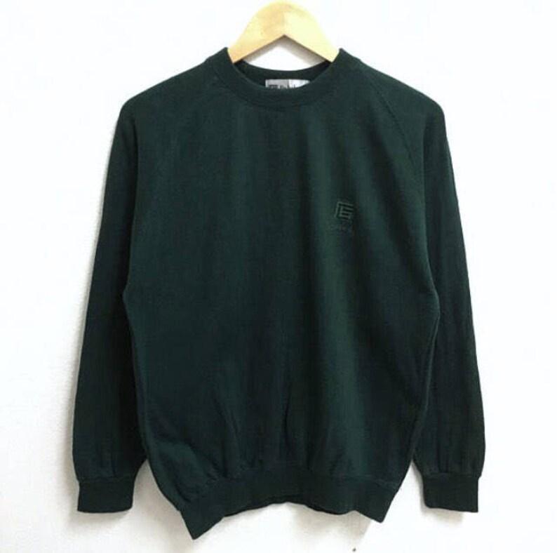 492a130001040 RARE!!! Be Balcan Milano Small Logo Embroidery Dark Green Colour Crew Neck  Sweatshirts Jumper Pullover Medium Size