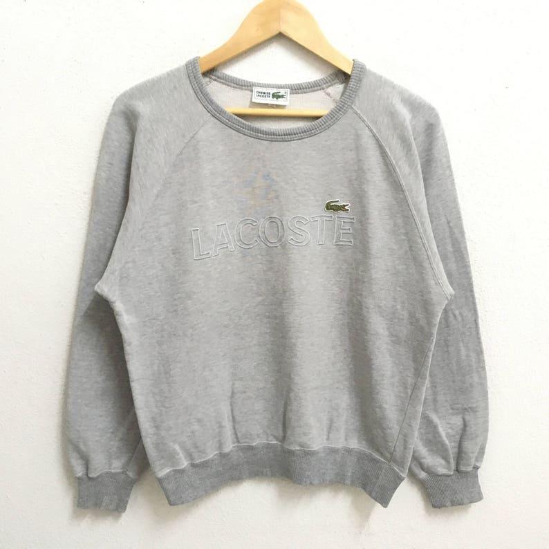 3685a76146176 RARE!!! Lacoste Big Logo Embroidery SpellOut Grey Colour Crew Neck  Sweatshirts Jumper Pullover Small Size