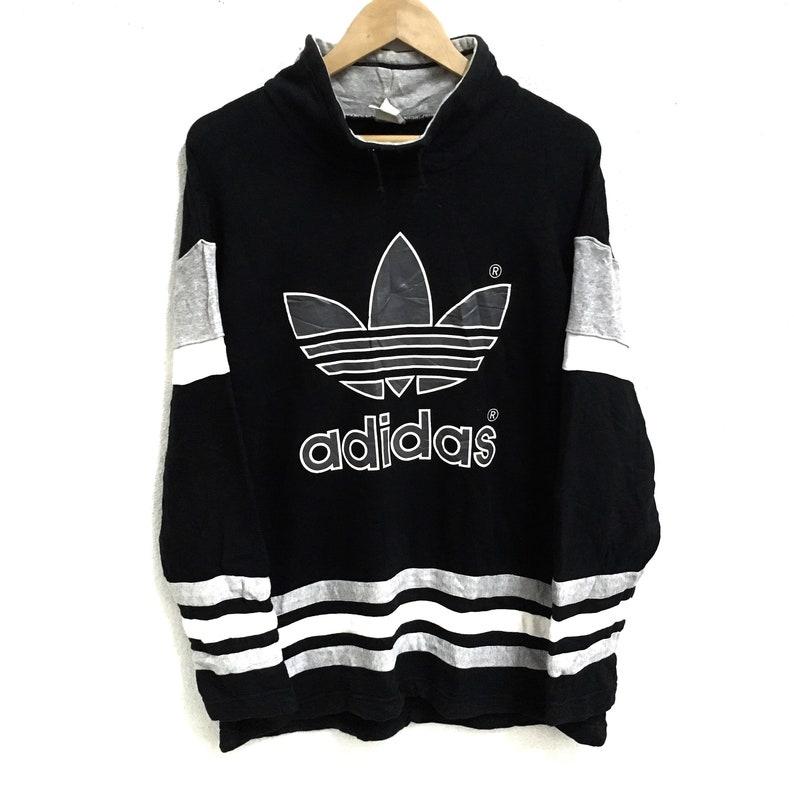 d976add9c1235 RARE!!! Vintage Adidas Trefoil Big Logo Printed 3 Stripe Black Colour  Sweatshirts Jumper Pullover M-L Size