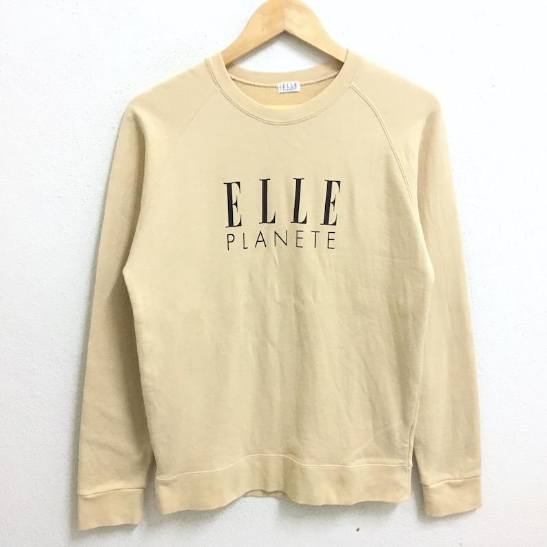 7a31ba5d92f9d RARE!!! ELLE Planete Fashion Big Logo Cream Colour Crew Neck Sweatshirts  Jumper Pullover Small Size