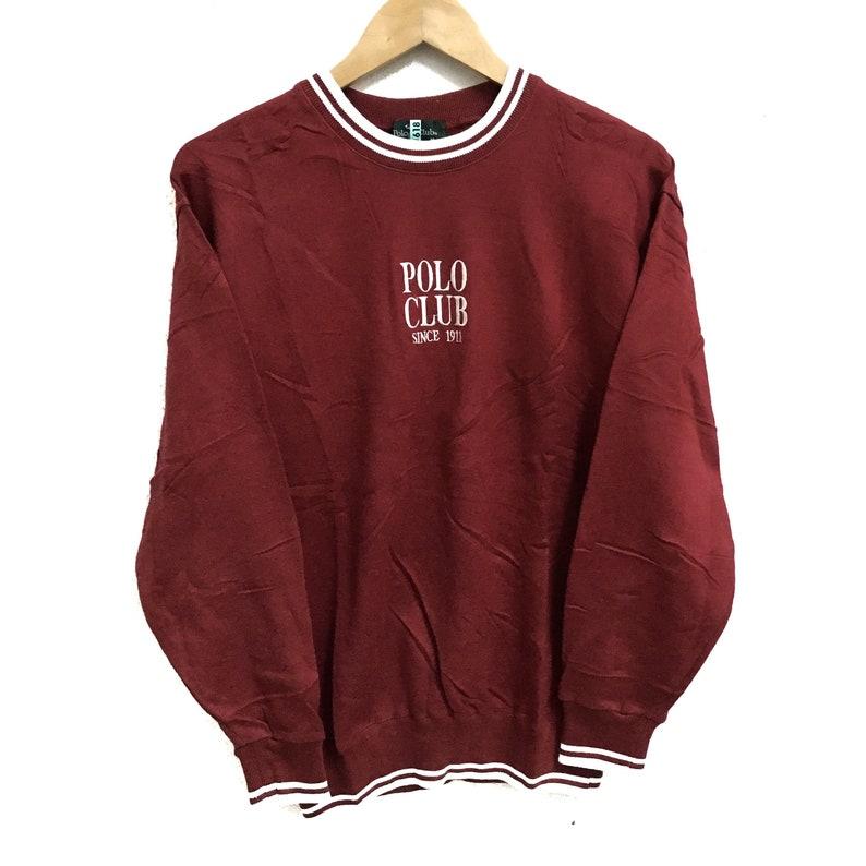 28c24931599d1 RARE!!! Polo Club Big Logo Embroidery Red Colour Crew Neck Sweatshirts  Jumper Pullover M-S Size