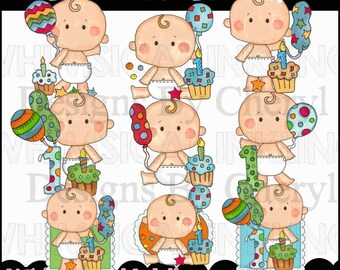 Birthday Clipart - First Birthday Clipart - Party Clipart - Instant Download - Bright First Birthday - Kids Clipart - Commercial Use