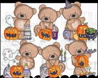 Halloween Clipart - Fall Clipart - Bear Clipart - Instant Download - Commercial Use - Friendly Bears Love Halloween