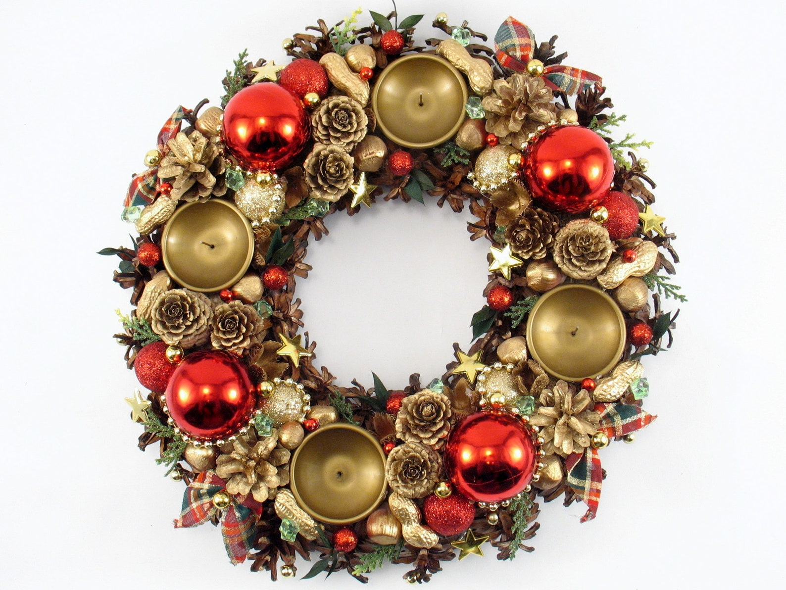 Advent Wreath, Red-golden Ornament Wreath, Christmas Table Decor, Christmas Wreath, Xmas Kranz, Kränze,