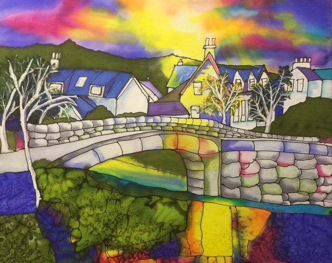 Original Silk Painting, Glenashdale Bridge