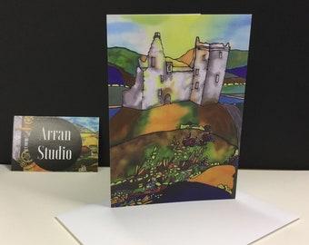 Lochranza Castle, blank greeting card.