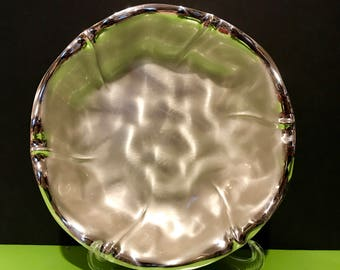 """Vintage Silverplate German EPBrass 8"""" round scalloped, brushed, footed dish"""
