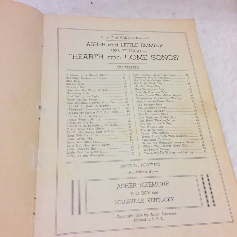 Asher Sizemore and Little Jimmies hearth and home songs  1934  Free ship