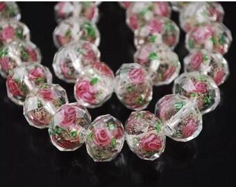 12 mm lampwork Glass Rondelle bead 10 pcs Champagne color