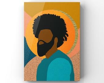 Confident, Black Man Collage Illustration, Printable Wall Art, African American Modern Art, Wall Decor, Digital Download