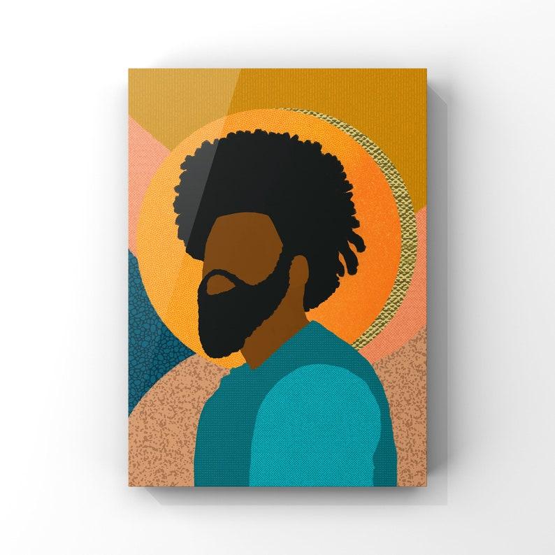Confident Black Man Collage Illustration Printable Wall Art image 0