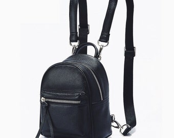 87a464c0c30b Top grain leather mini backpack black small leather backpack minimalist  vintage backpack women rucksack leather bag