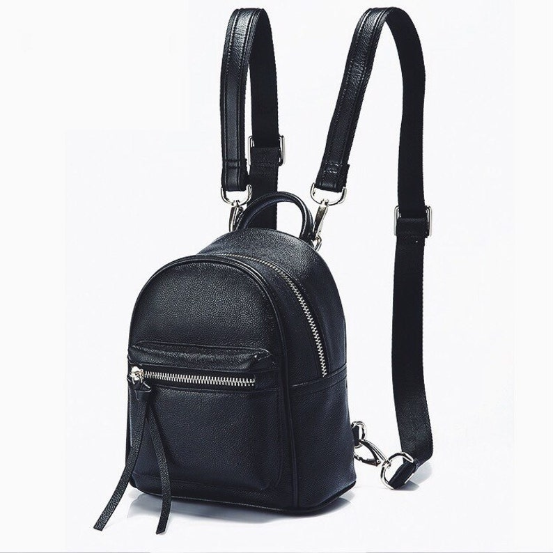 05104ea60e Top grain leather mini backpack black small leather backpack