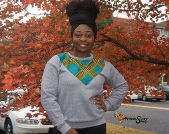 unisex grey african print sweater