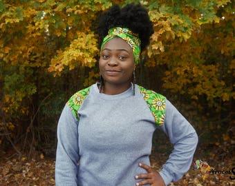 Unisex grey african print sweatshirt