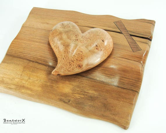 "Beautifully ""Whimsical"" English Walnut Bowtie Holder with Antique Aged Maple Burl Heart (2 Pieces) 
