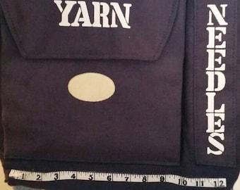 Sale! Lovely handmade knitting tote bag - vtg