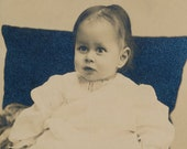 Cabinet Card Baby with Bad Hair wearing a White Sitting on a Cushioned Chair Photographer Ely Duluth MN Minnesota