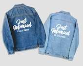 Just Married, denim jacket, custom jacket, wedding jacket, custom wedding gift, wedding shower gift, bridal shower gift, jean jacket, bride