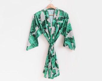 palm leaf satin robe kids robes banana leaf robe children/'s robes wedding shower gift tropical wedding flower girl juniors robes