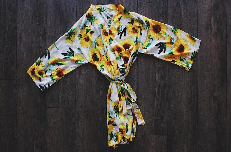satin robes robe wedding robe bridesmaid robe wedding robes sunflower robe bridal party robes wedding party robe floral robe