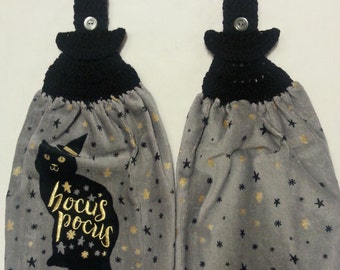 Hocus Pocus Crochet Kitchen Towel Set of 2, Crochet towel topper
