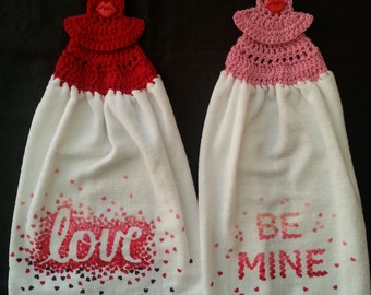 Be Mine and Love Crochet Kitchen Towels Set of 2, Valentines day towels, towel toppers