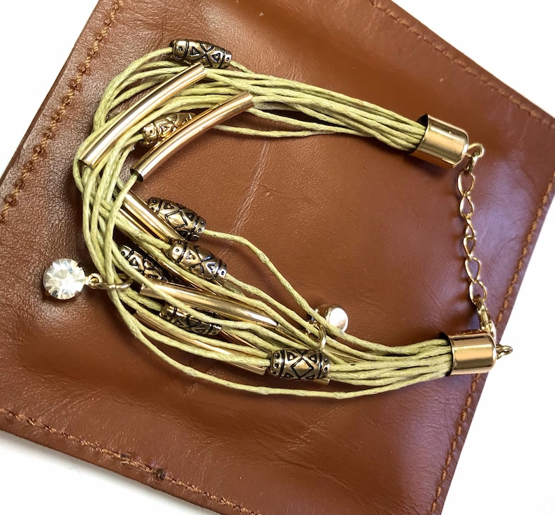 Hemp with gold beads and clasp  7-8.5/' adjustable