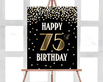 Happy 75th Birthday Sign Party Black Decorations Gold Decor Printable